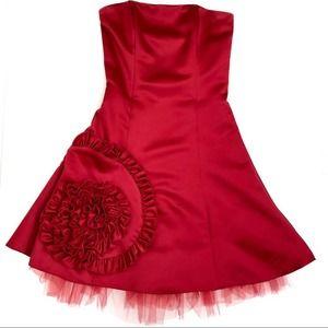 Gunne Sax Jessica McClintock red strapless dress